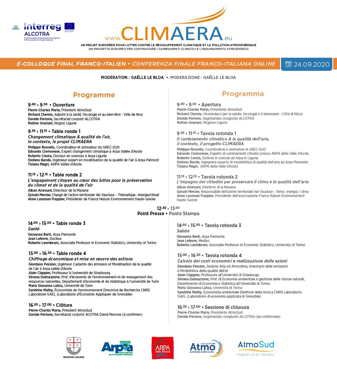 Programma conferenza finale CLIMAERA